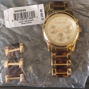 Michael Kors Tortoise Zhell and Gold Watch